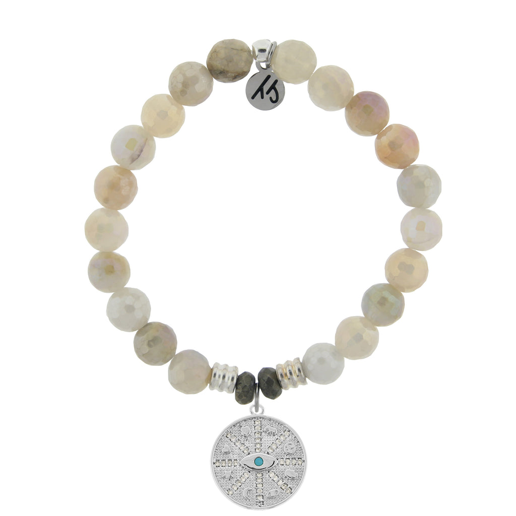Moonstone Bracelet with Protection Sterling Silver Charm