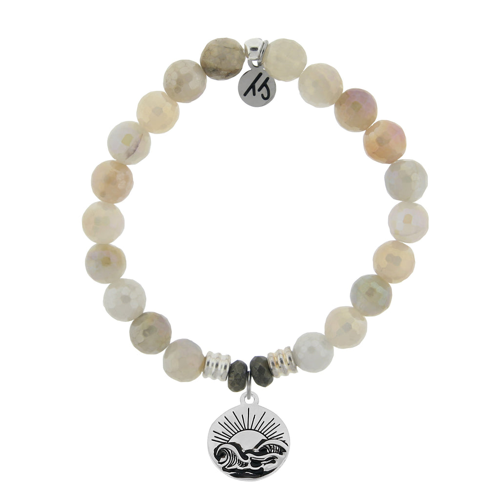 Moonstone Bracelet with Rising Sun Sterling Silver Charm