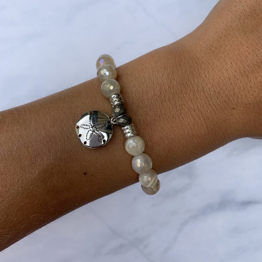 Moonstone Bracelet with Sand Dollar Sterling Silver Charm