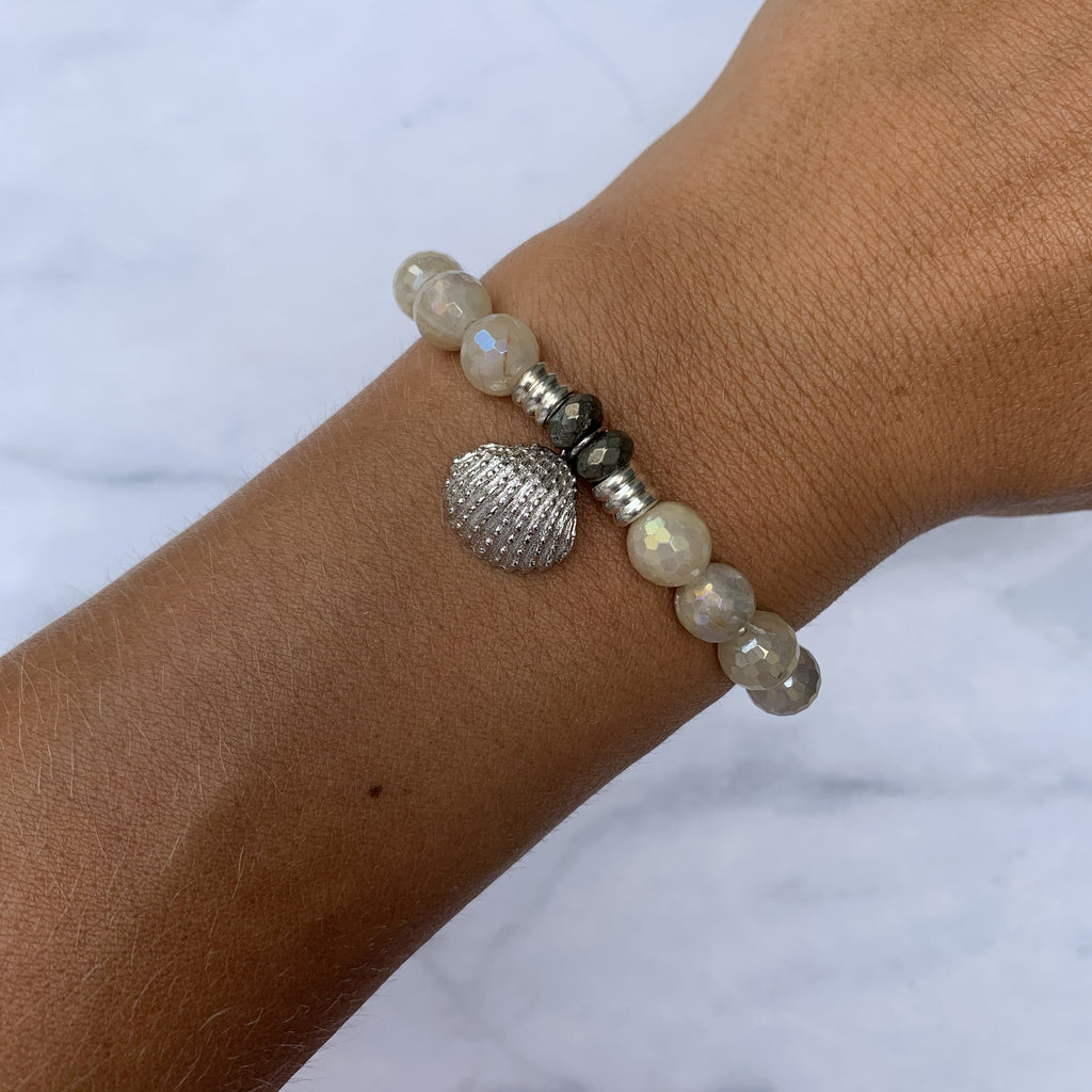 Moonstone Bracelet with Seashell Sterling Silver Charm