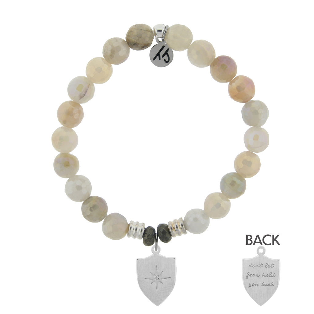 Moonstone Bracelet with Shield of Strength Sterling Silver Charm