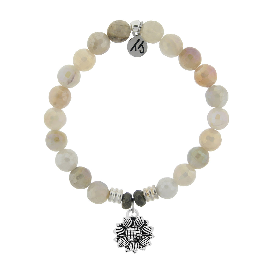 Moonstone Bracelet with Sunflower Sterling Silver Charm