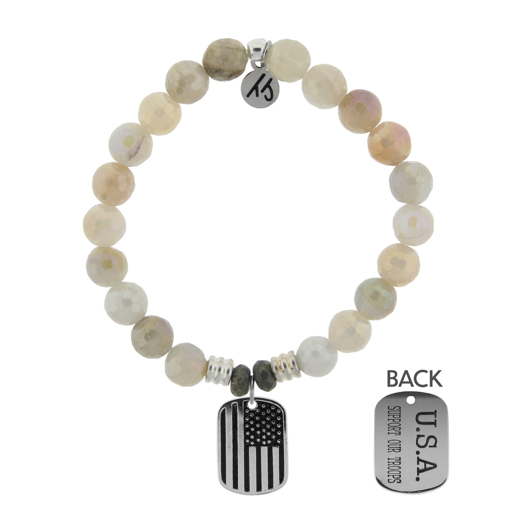Moonstone Bracelet with Support our Troops Sterling Silver Charm