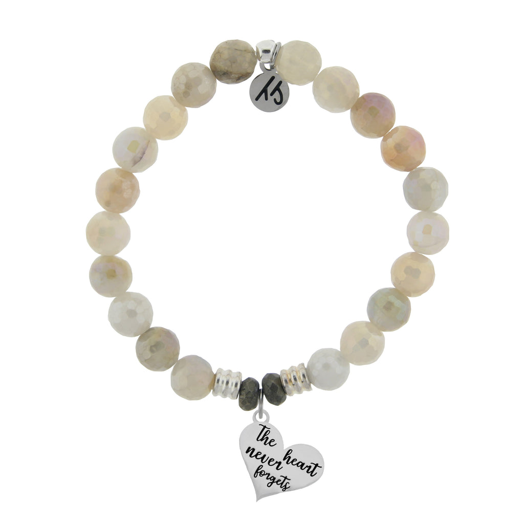 Moonstone Bracelet with The Heart Never Forgets Sterling Silver Charm