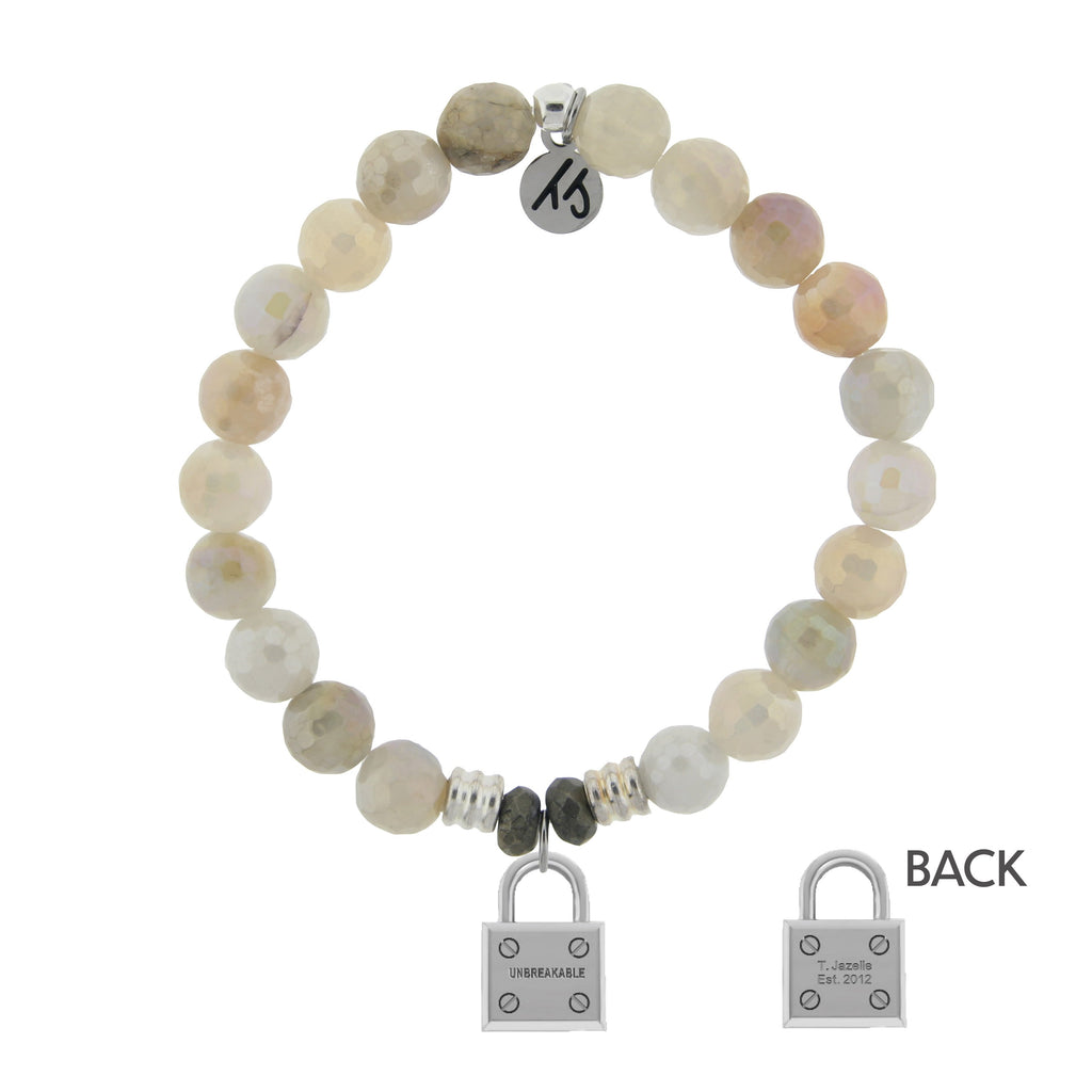 Moonstone Bracelet with Unbreakable Sterling Silver Charm