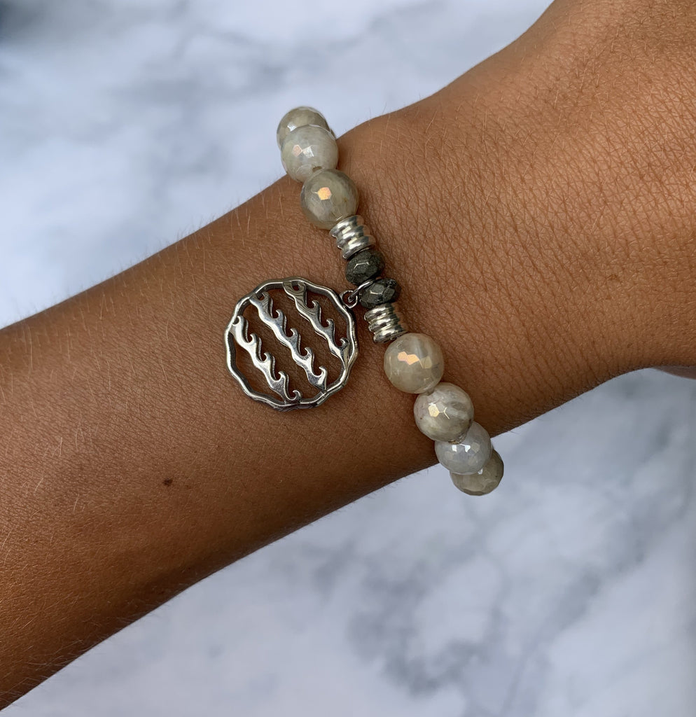 Moonstone Bracelet with Waves of Life Sterling Silver Charm
