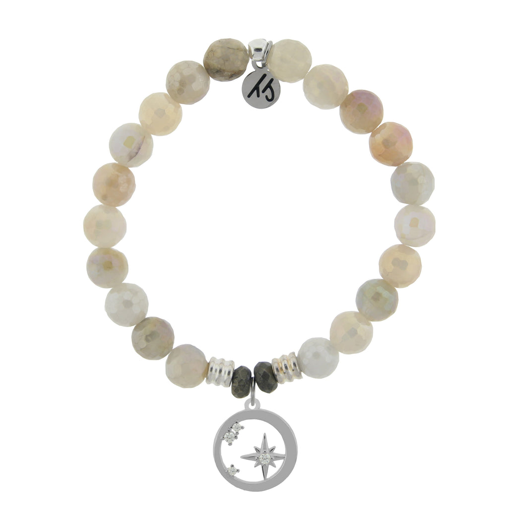 Moonstone Bracelet with What is Meant to Be Sterling Silver Charm