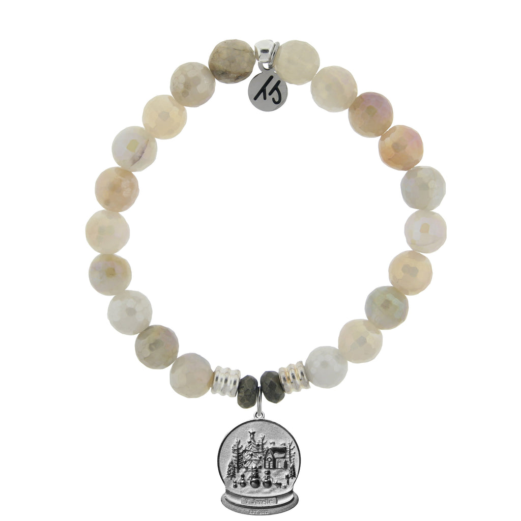 Moonstone Bracelet with Winter Wonderland Sterling Silver Charm