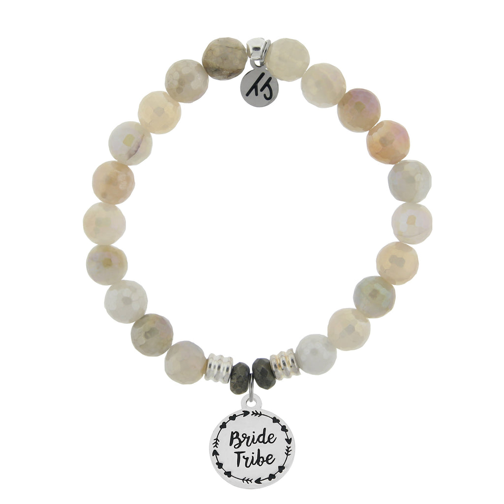 Moonstone Stone Bracelet with Bride Tribe Sterling Silver Charm
