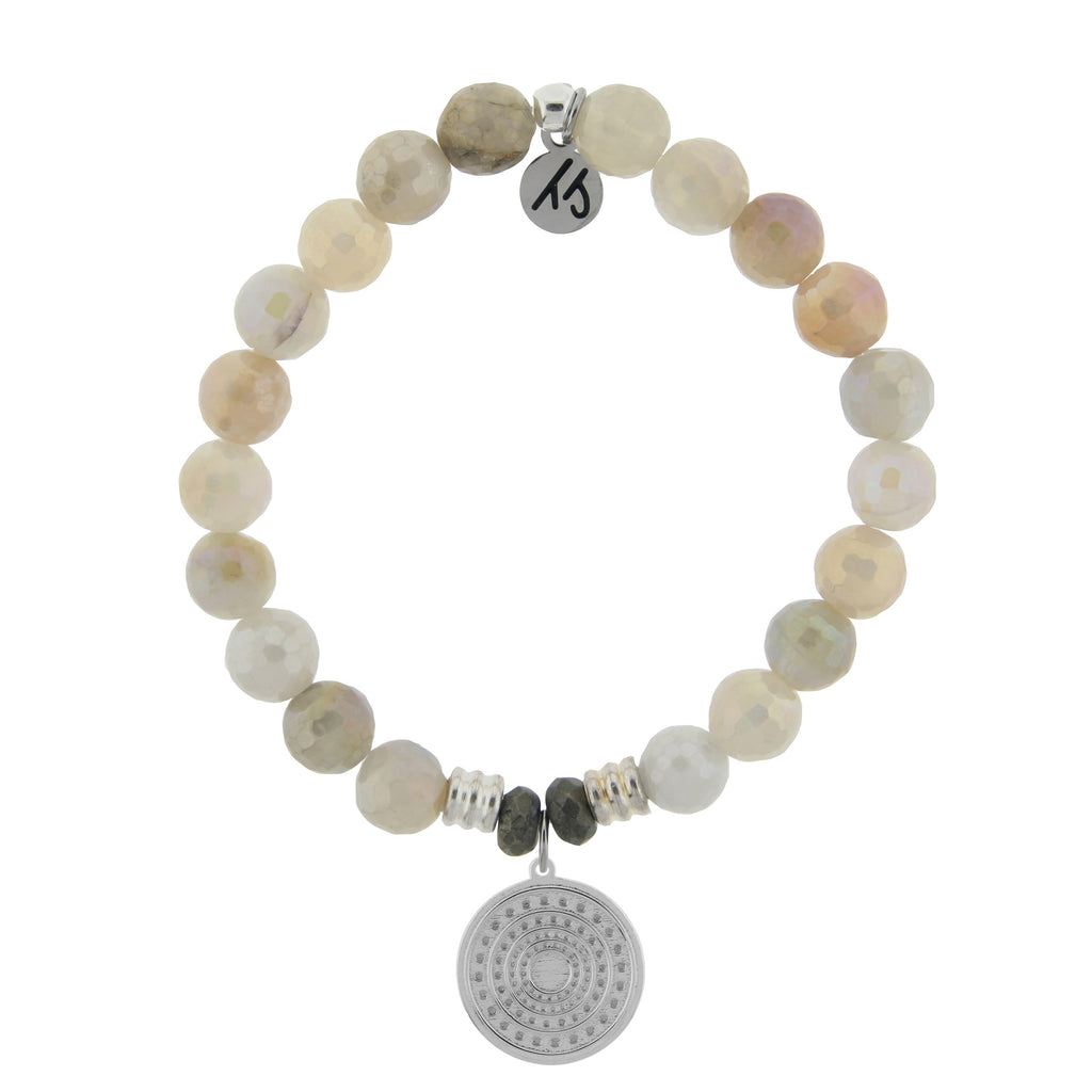 Moonstone Stone Bracelet with Family Circle Sterling Silver Charm