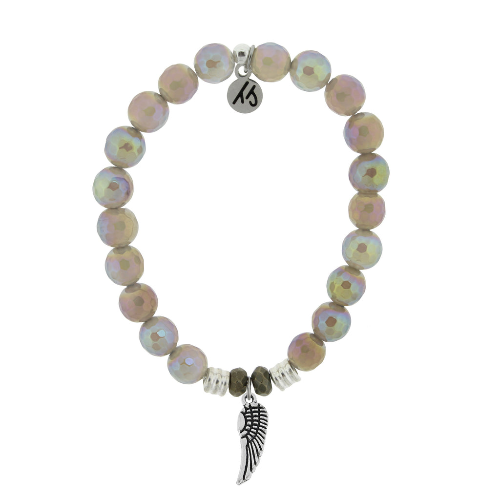 Mystic Grey Agate Stone Bracelet with Angel Wing Sterling Silver Charm