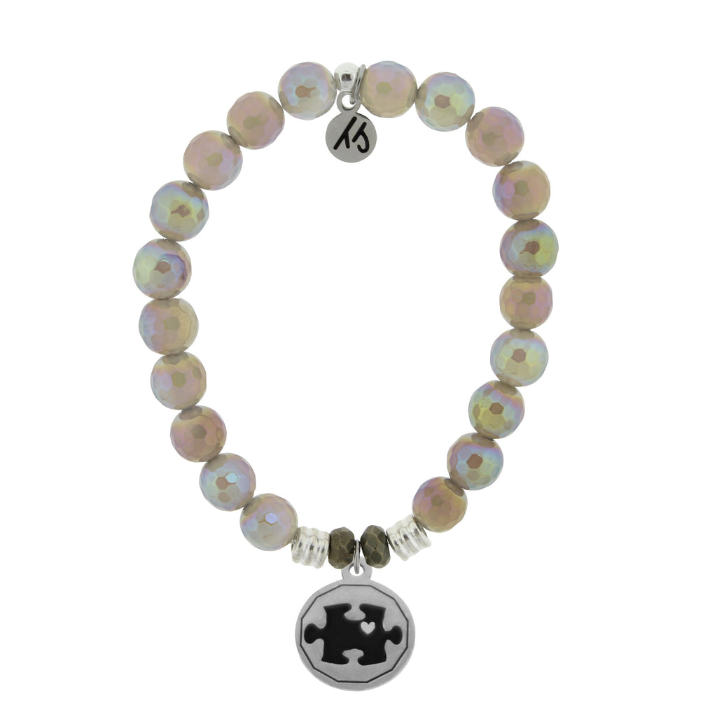 Mystic Grey Agate Stone Bracelet with Autism Awareness Sterling Silver Charm