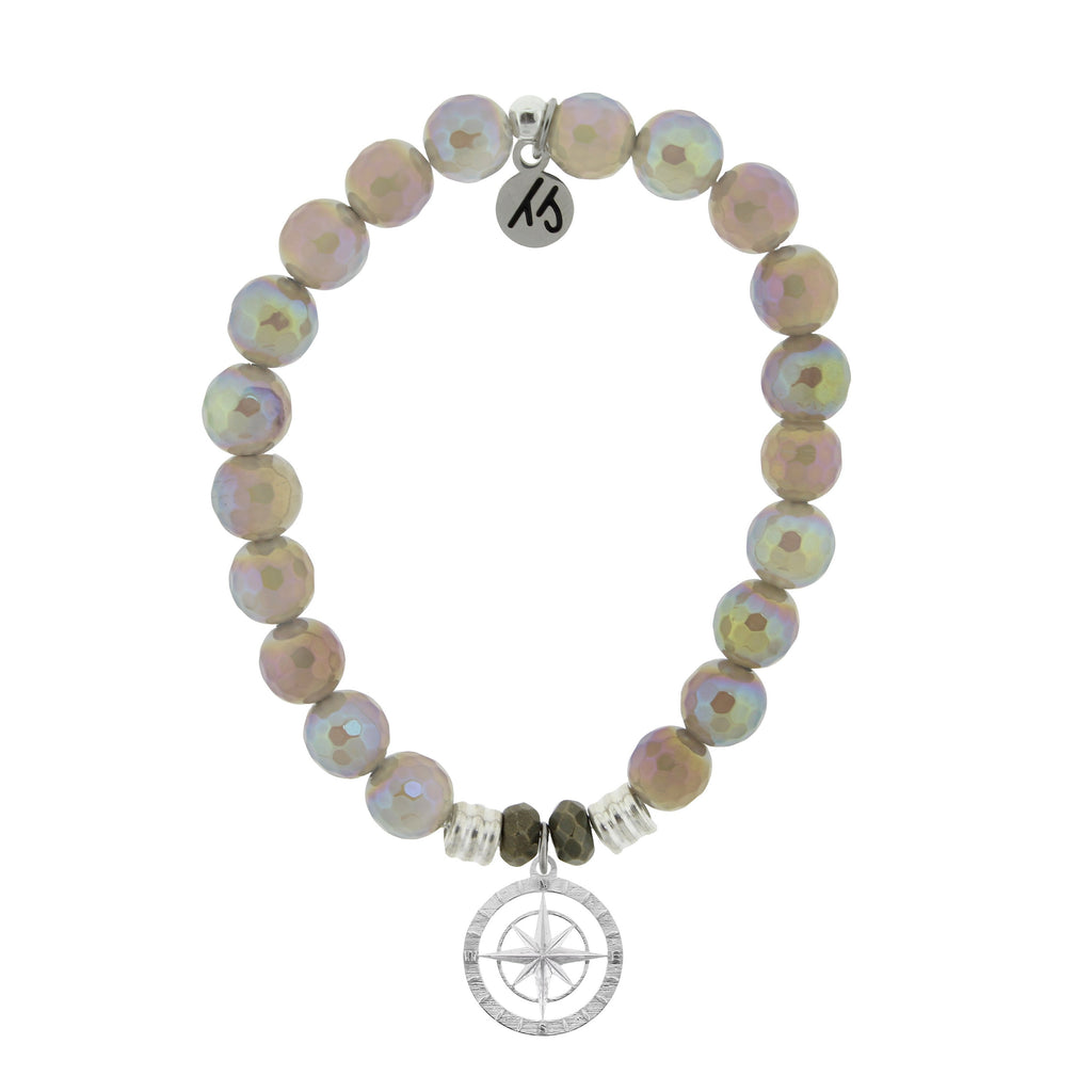 Mystic Grey Agate Stone Bracelet with Compass Rose Sterling Silver Charm