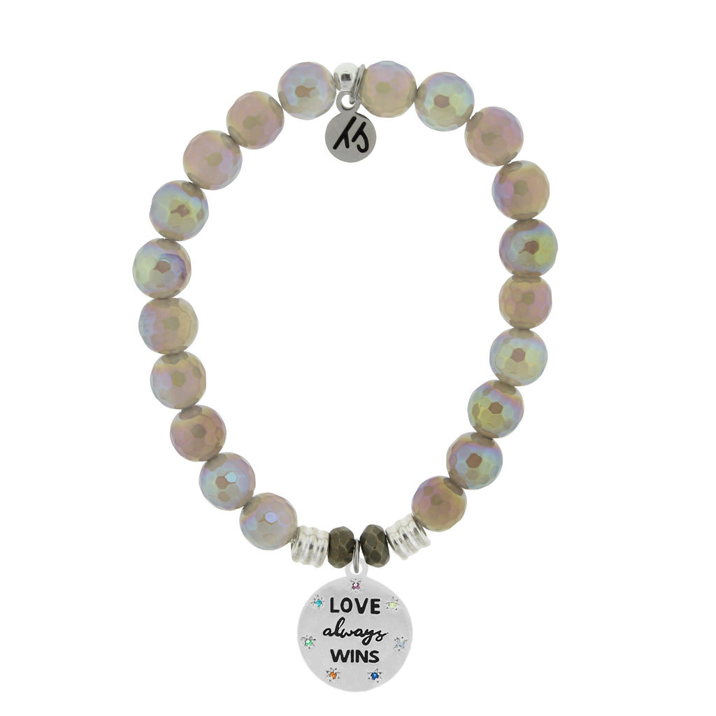 Mystic Grey Agate Stone Bracelet with Love Always Wins Sterling Silver Charm