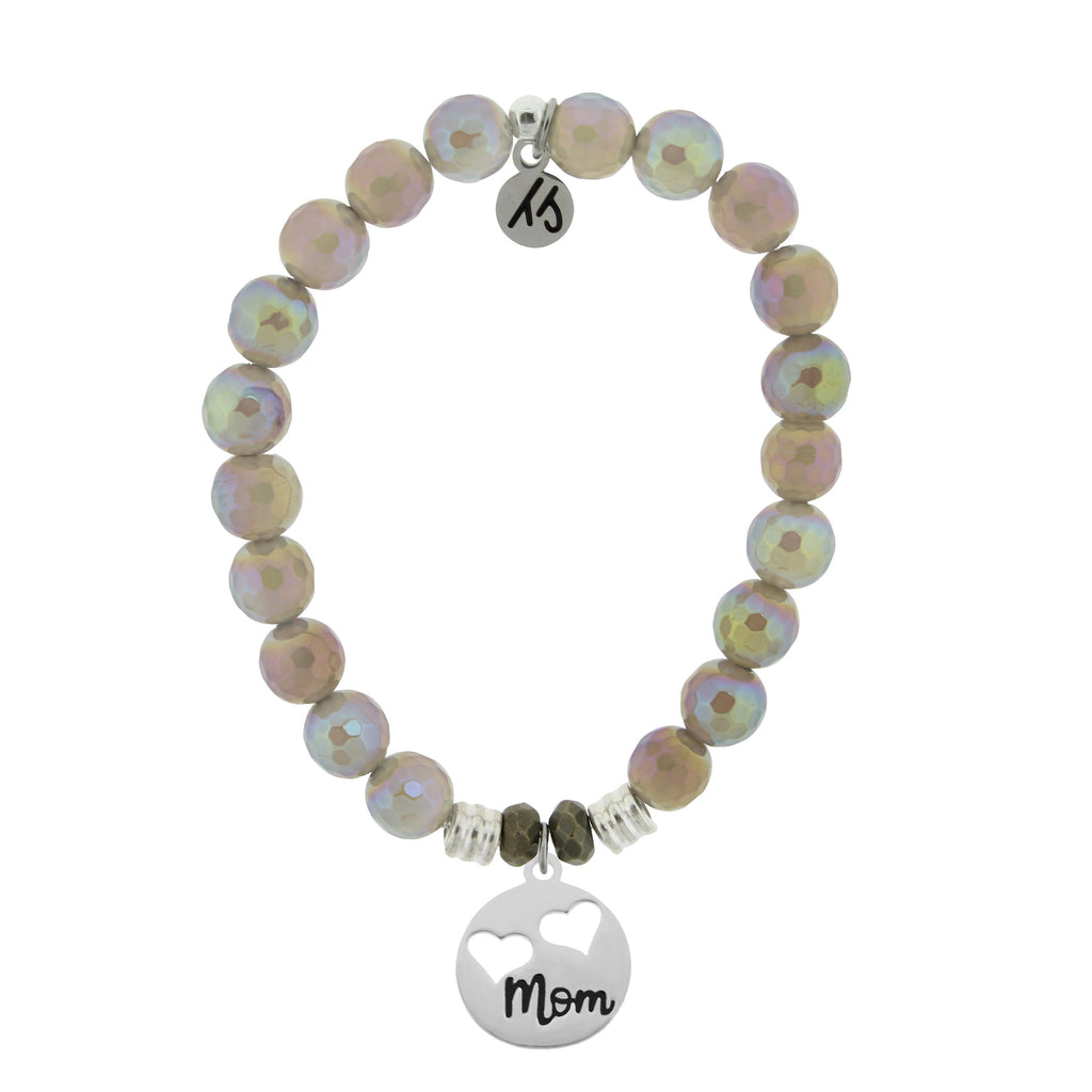 Mystic Grey Agate Stone Bracelet with Mom... Sterling Silver Charm
