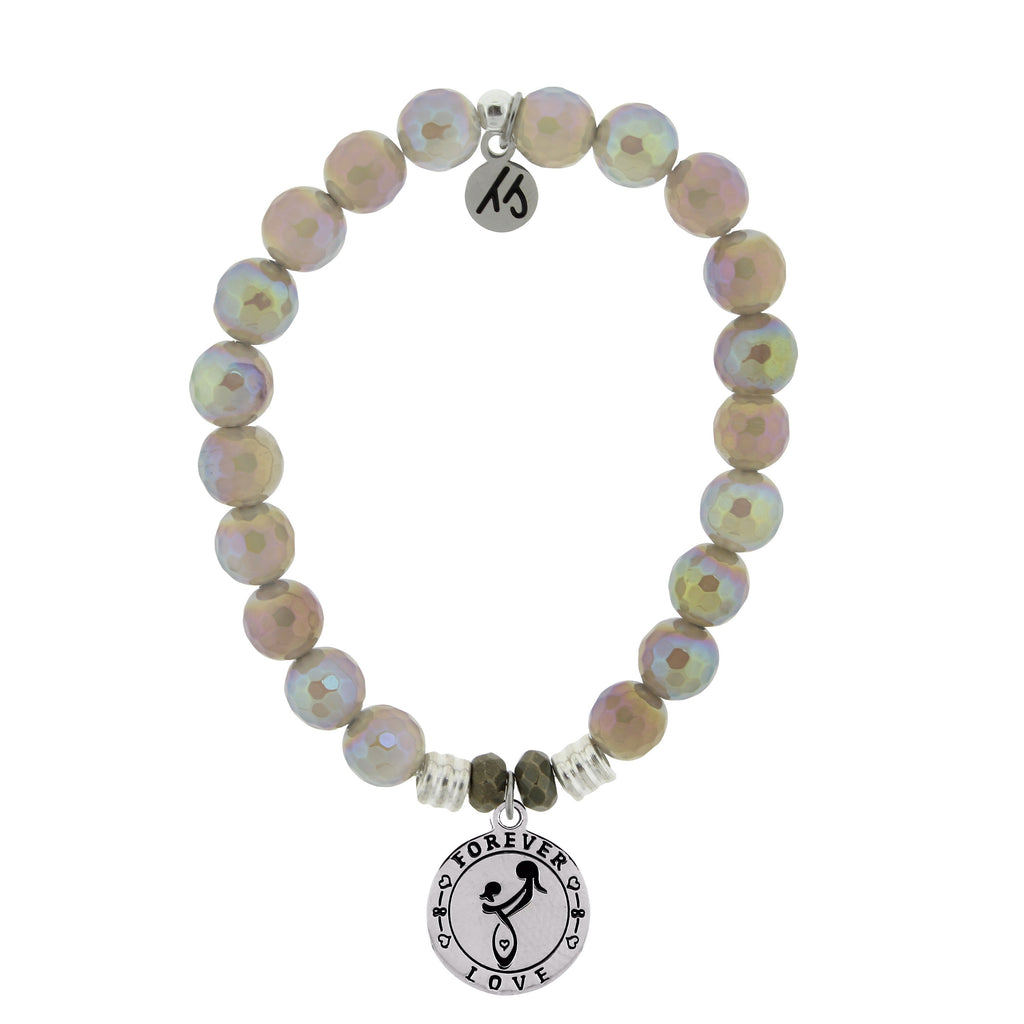 Mystic Grey Agate Stone Bracelet with Mother's Love Sterling Silver Charm