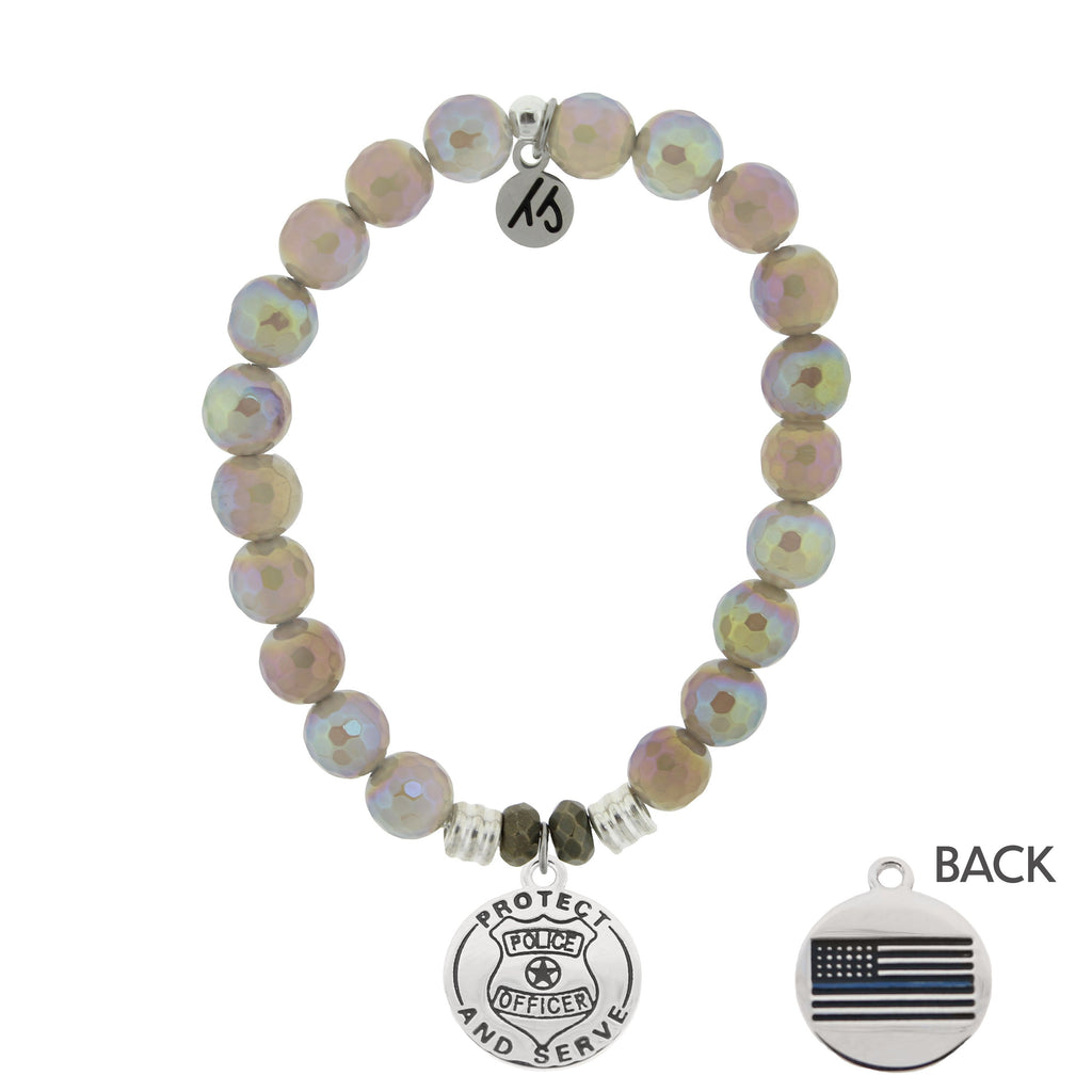 Mystic Grey Agate Stone Bracelet with Police Sterling Silver Charm