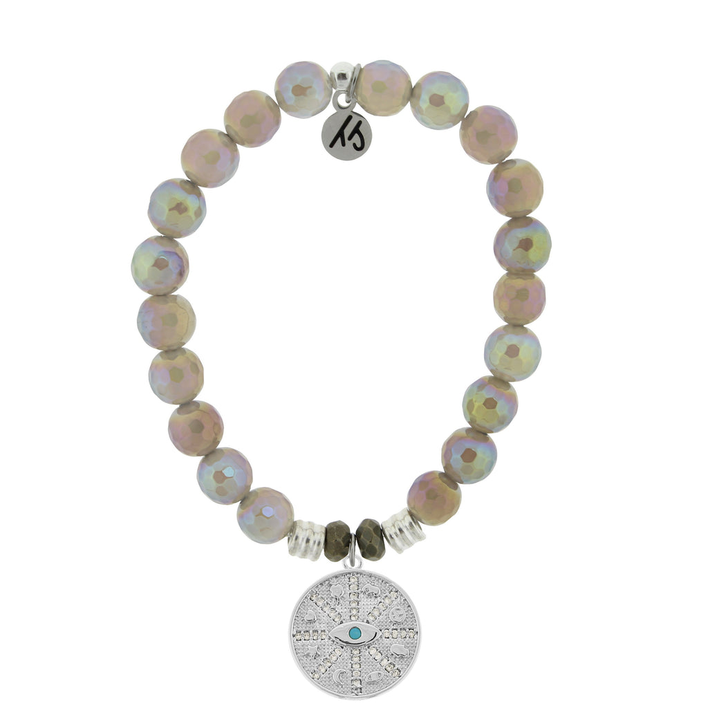 Mystic Grey Agate Stone Bracelet with Protection Sterling Silver Charm