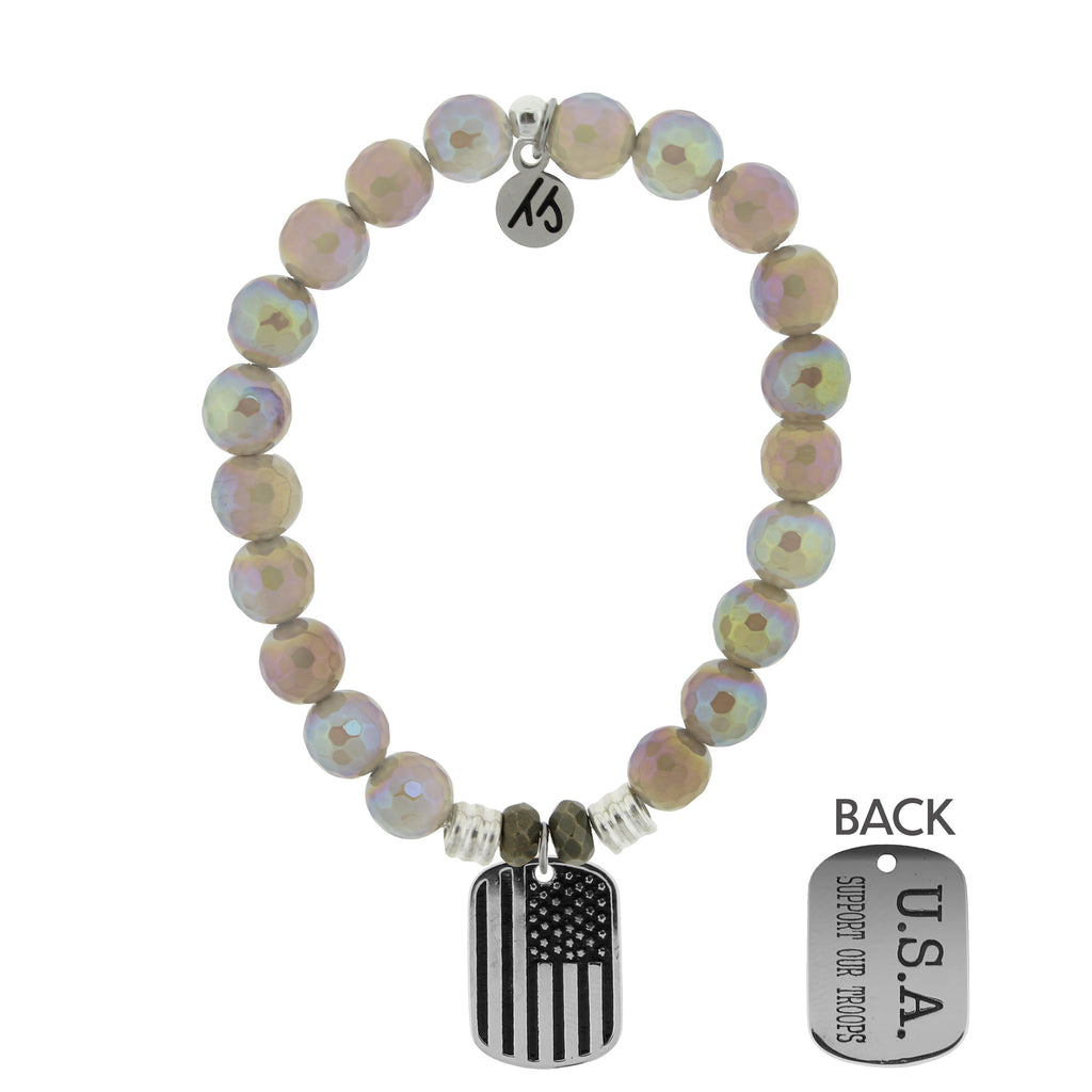 Mystic Grey Agate Stone Bracelet with Support Our Troops Sterling Silver Charm