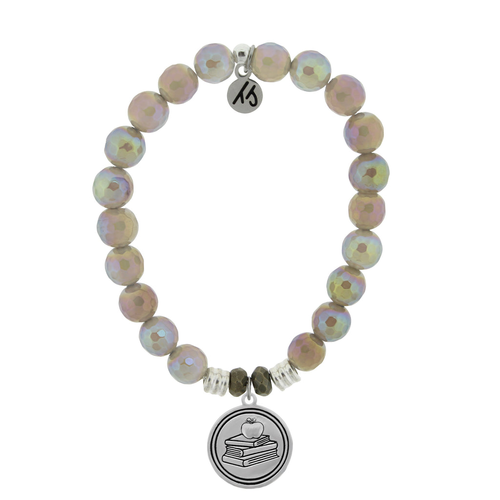 Mystic Grey Agate Stone Bracelet with Teacher Sterling Silver Charm