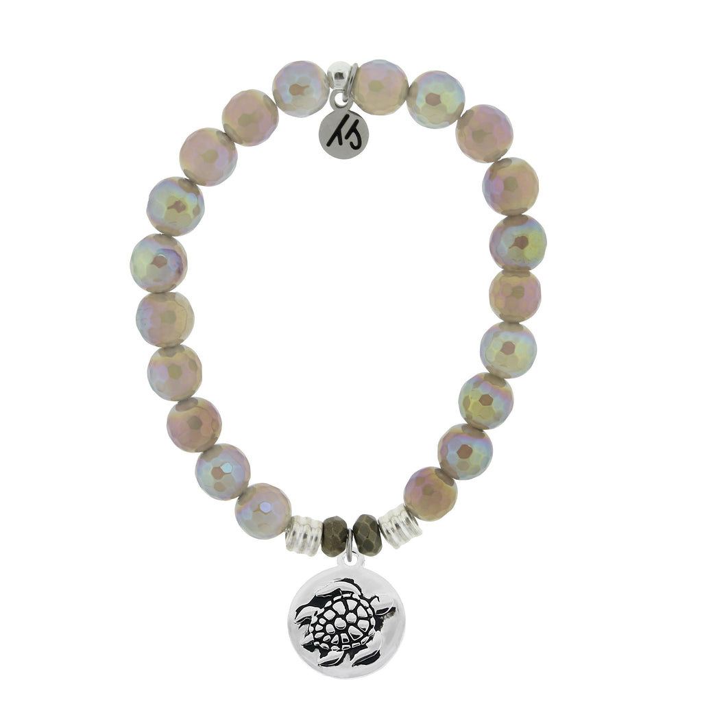 Mystic Grey Agate Stone Bracelet with Turtle Sterling Silver Charm