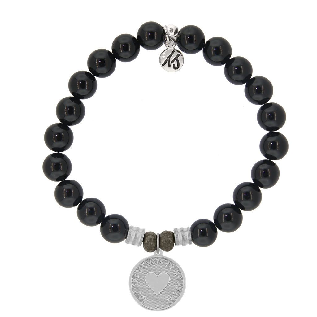 Onyx Stone Bracelet with Always in my Heart Sterling Silver Charm