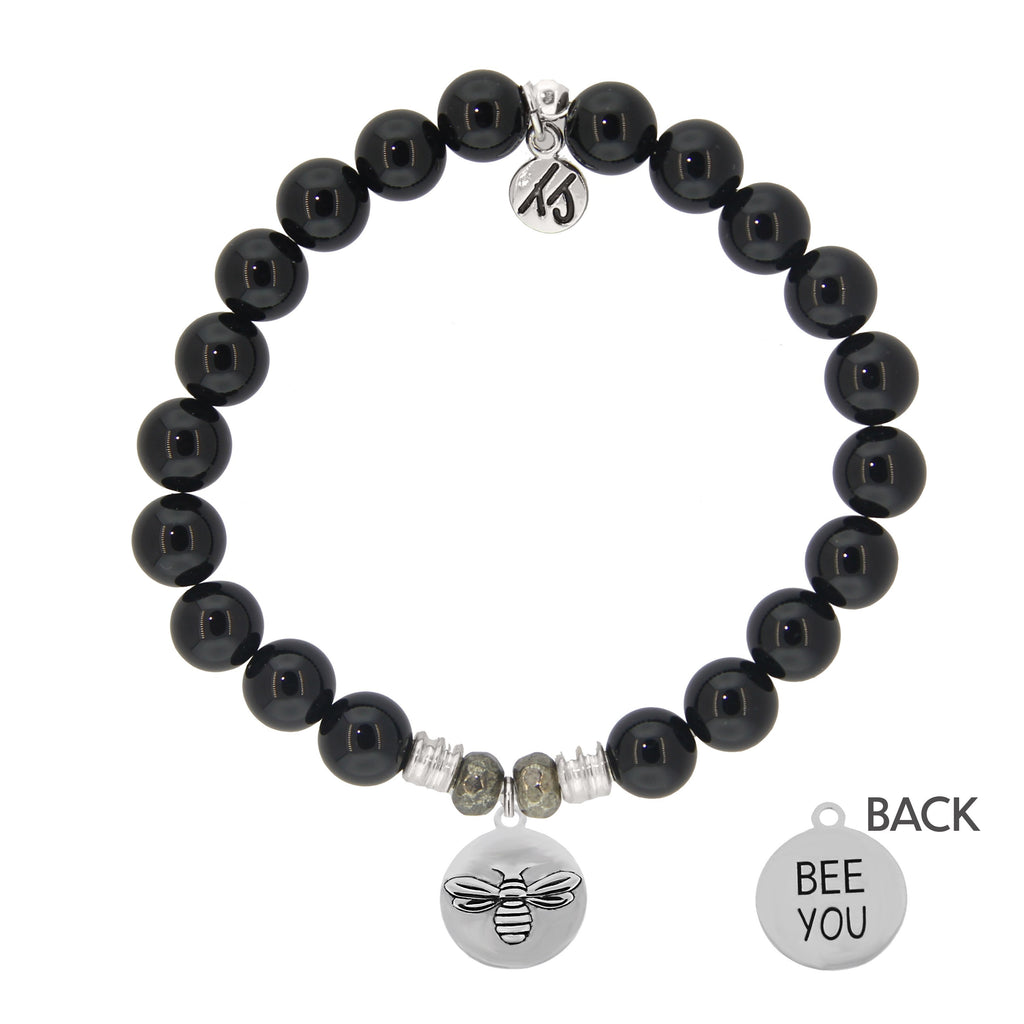 Onyx Stone Bracelet with Bee You Sterling Silver Charm