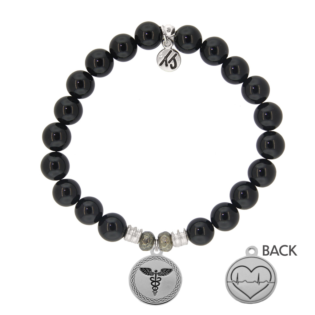 Onyx Stone Bracelet with Caduceus Sterling Silver Charm