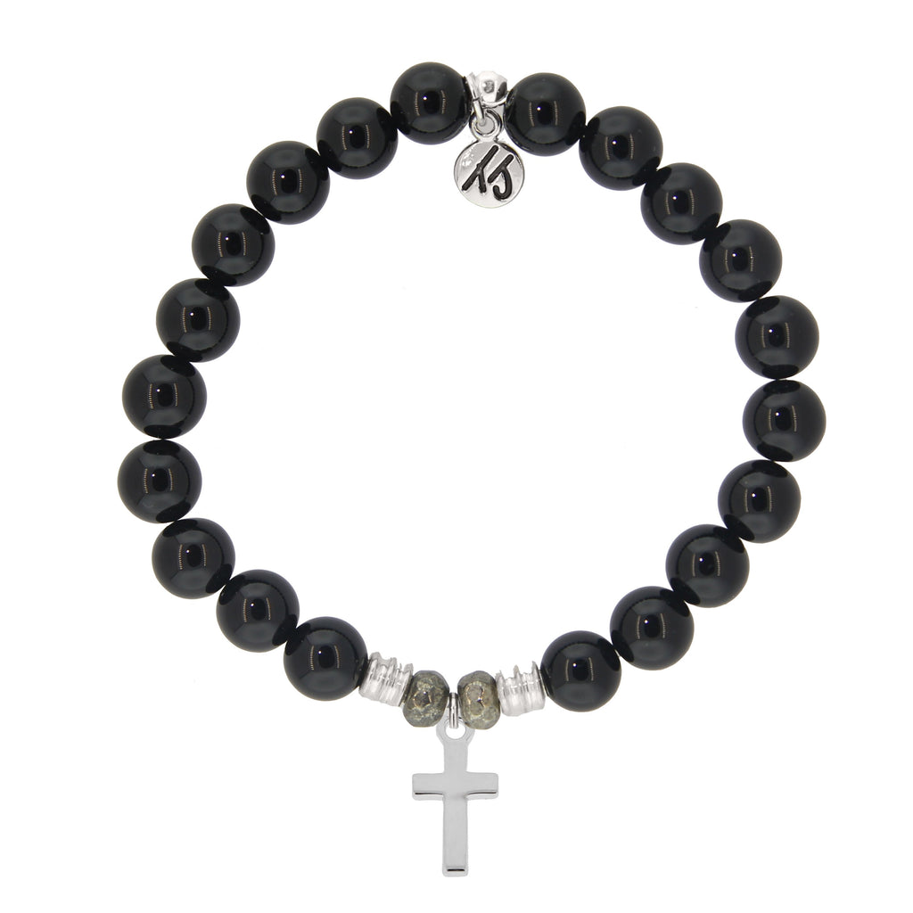 Onyx Stone Bracelet with Cross Sterling Silver Charm