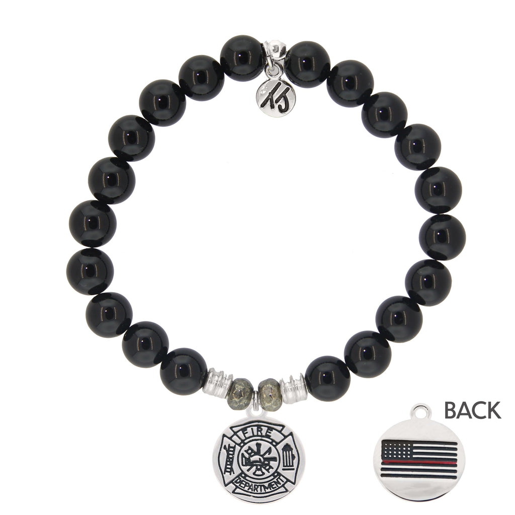 Onyx Stone Bracelet with Firefighter Sterling Silver Charm
