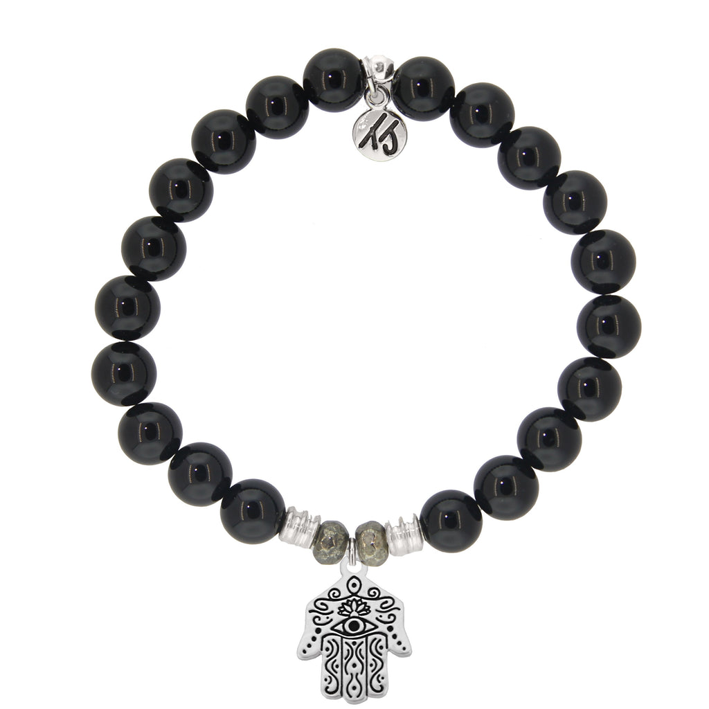 Onyx Stone Bracelet with Hand of God Sterling Silver Charm