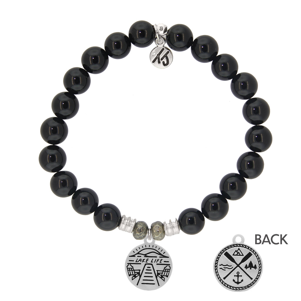 Onyx Stone Bracelet with Lake Life Sterling Silver Charm