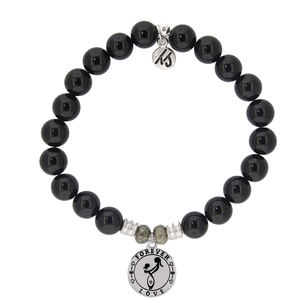 Onyx Stone Bracelet with Mother's Love Sterling Silver Charm
