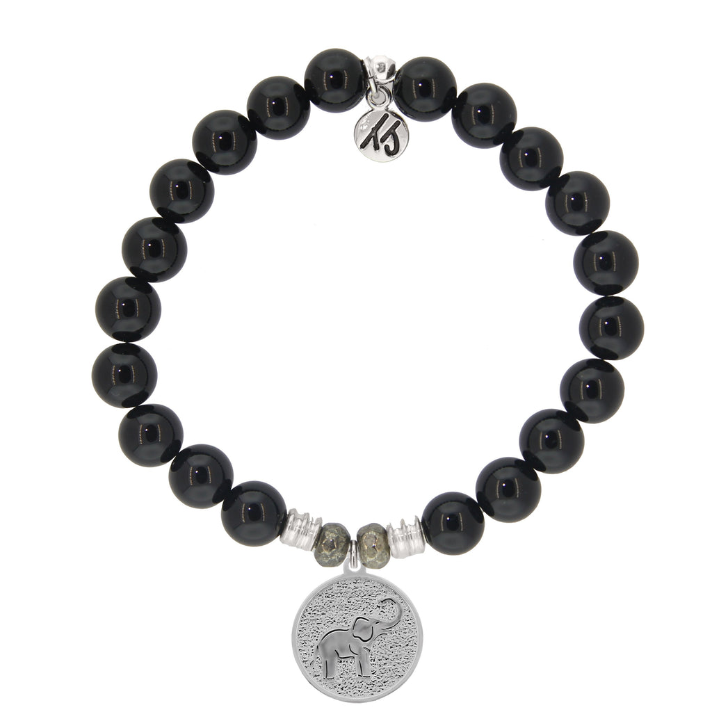 Onyx Stone Bracelet with New Lucky Elephant Sterling Silver Charm
