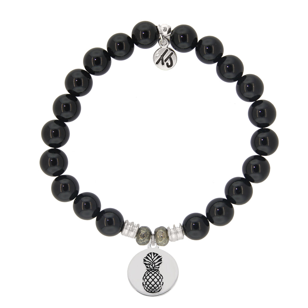 Onyx Stone Bracelet with Pineapple Sterling Silver Charm