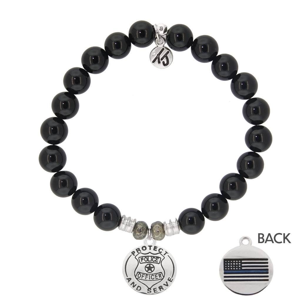 Onyx Stone Bracelet with Police Sterling Silver Charm