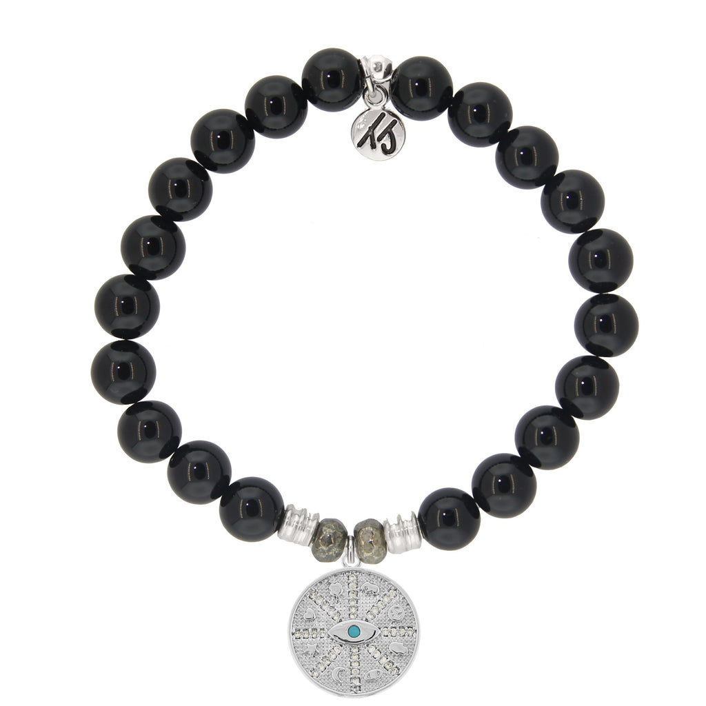 Onyx Stone Bracelet with Protection Sterling Silver Charm