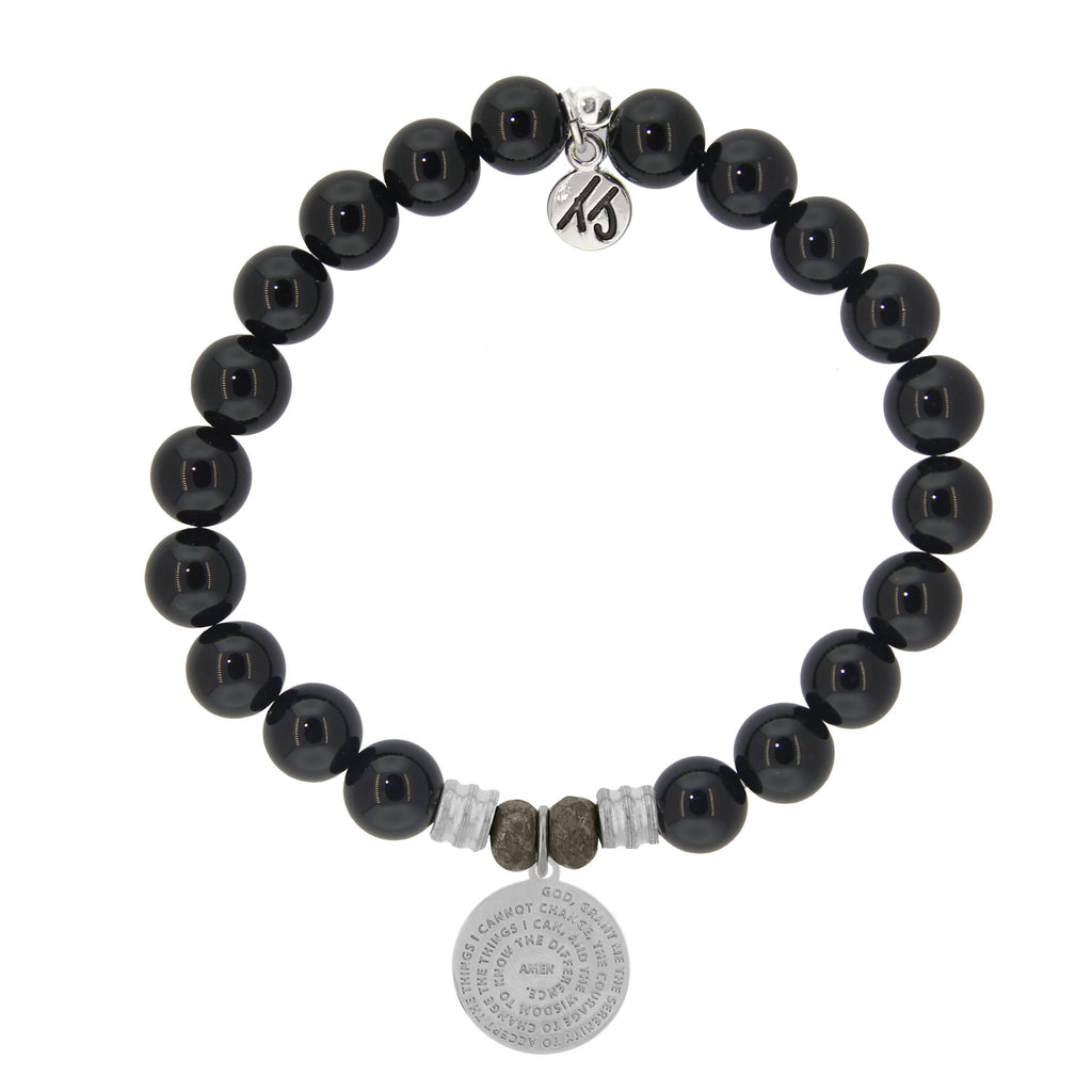 Onyx Stone Bracelet with Serenity Prayer Sterling Silver Charm