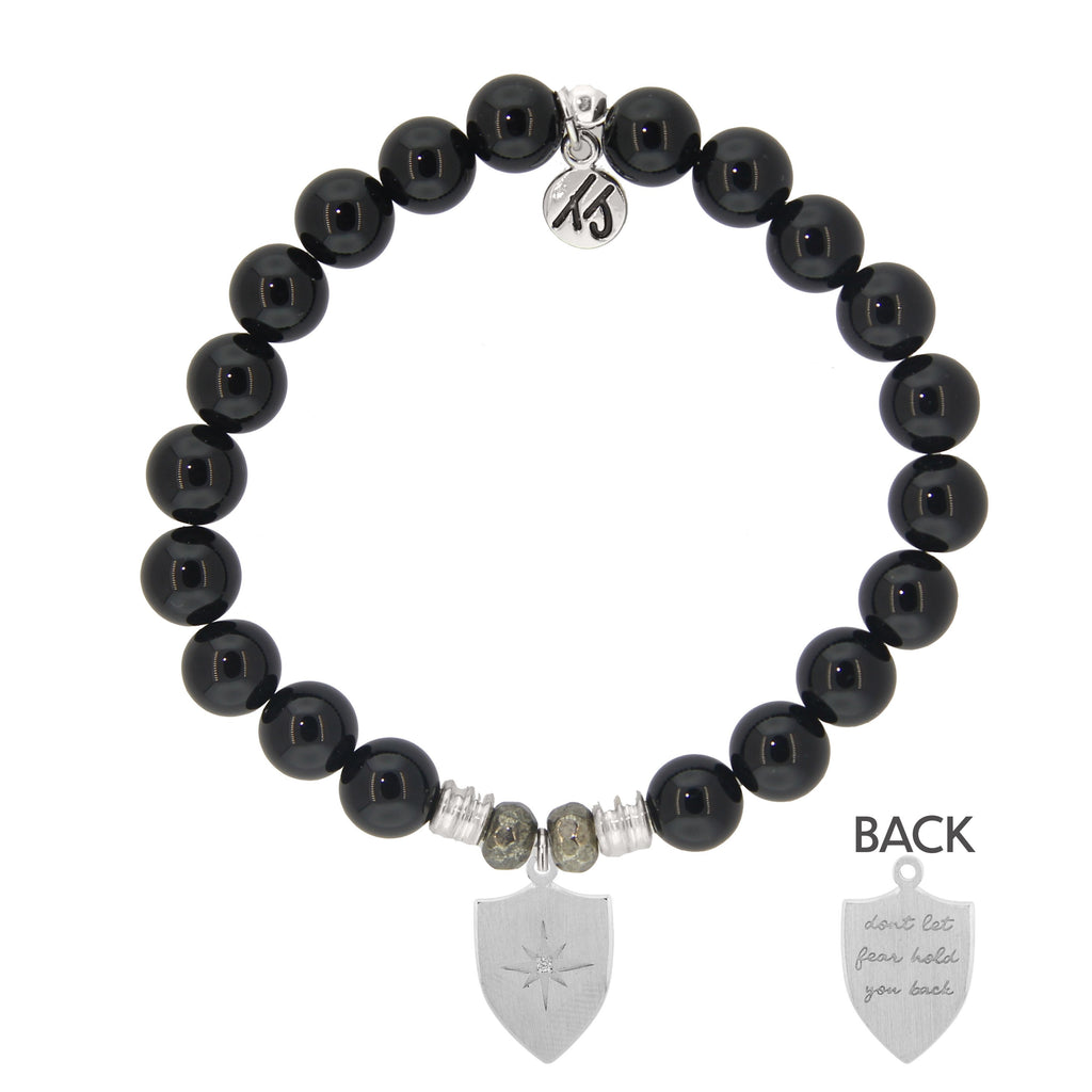 Onyx Stone Bracelet with Shield of Strength Sterling Silver Charm