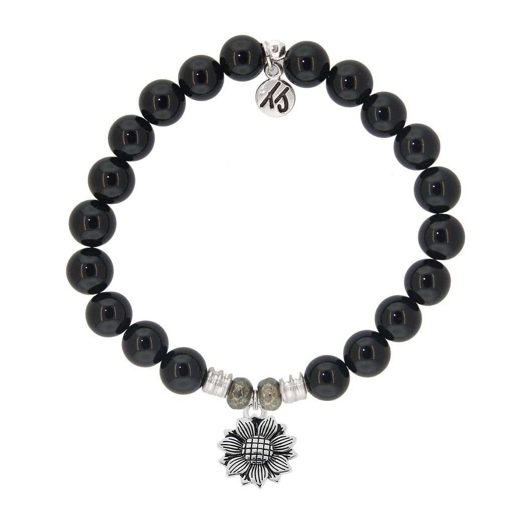 Onyx Stone Bracelet with Sunflower Sterling Silver Charm