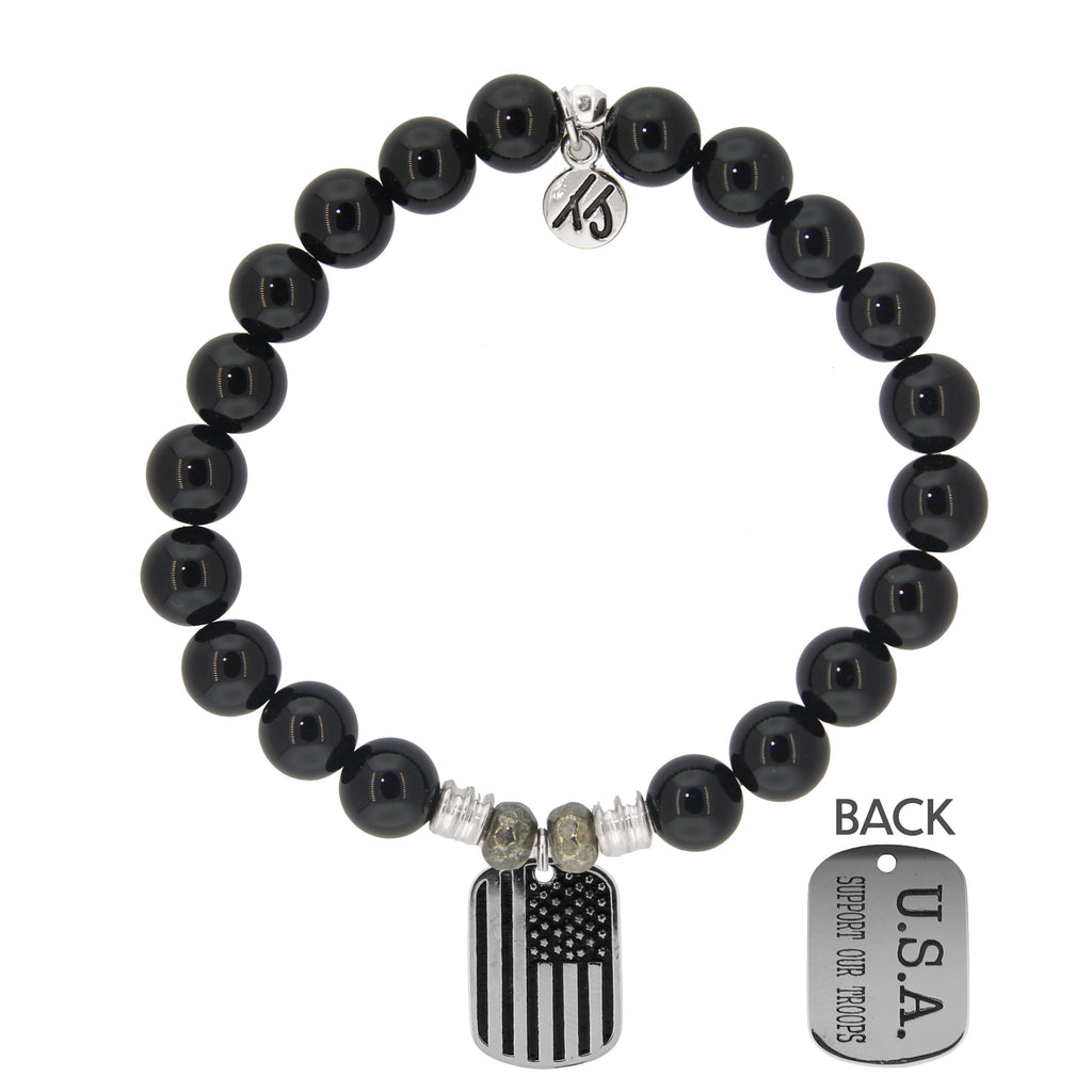 Onyx Stone Bracelet with Support Our Troops Sterling Silver Charm