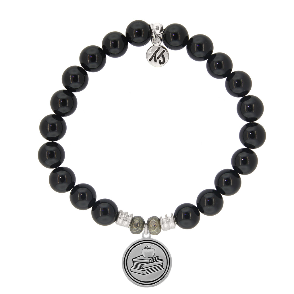 Onyx Stone Bracelet with Teacher Sterling Silver Charm