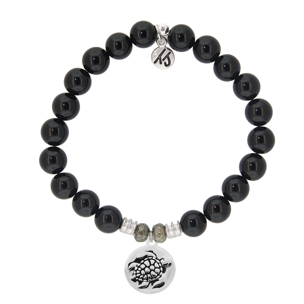 Onyx Stone Bracelet with Turtle Sterling Silver Charm