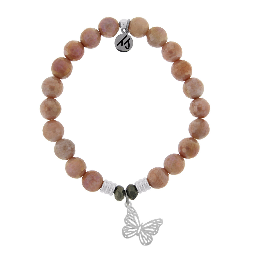 Orange Moonstone Stone Bracelet with Butterfly Sterling Silver Charm