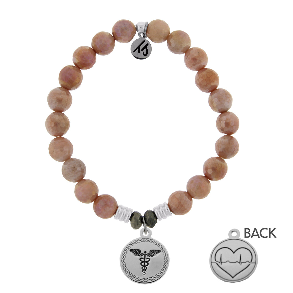 Orange Moonstone Stone Bracelet with Caduceus Sterling Silver Charm