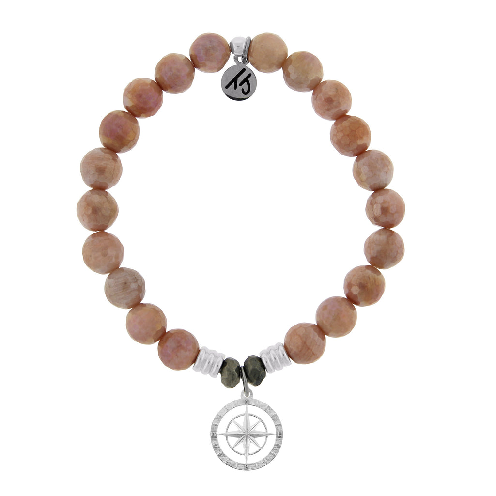 Orange Moonstone Stone Bracelet with Compass Rose Sterling Silver Charm
