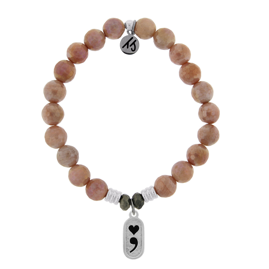 Orange Moonstone Stone Bracelet with Continue Sterling Silver Charm