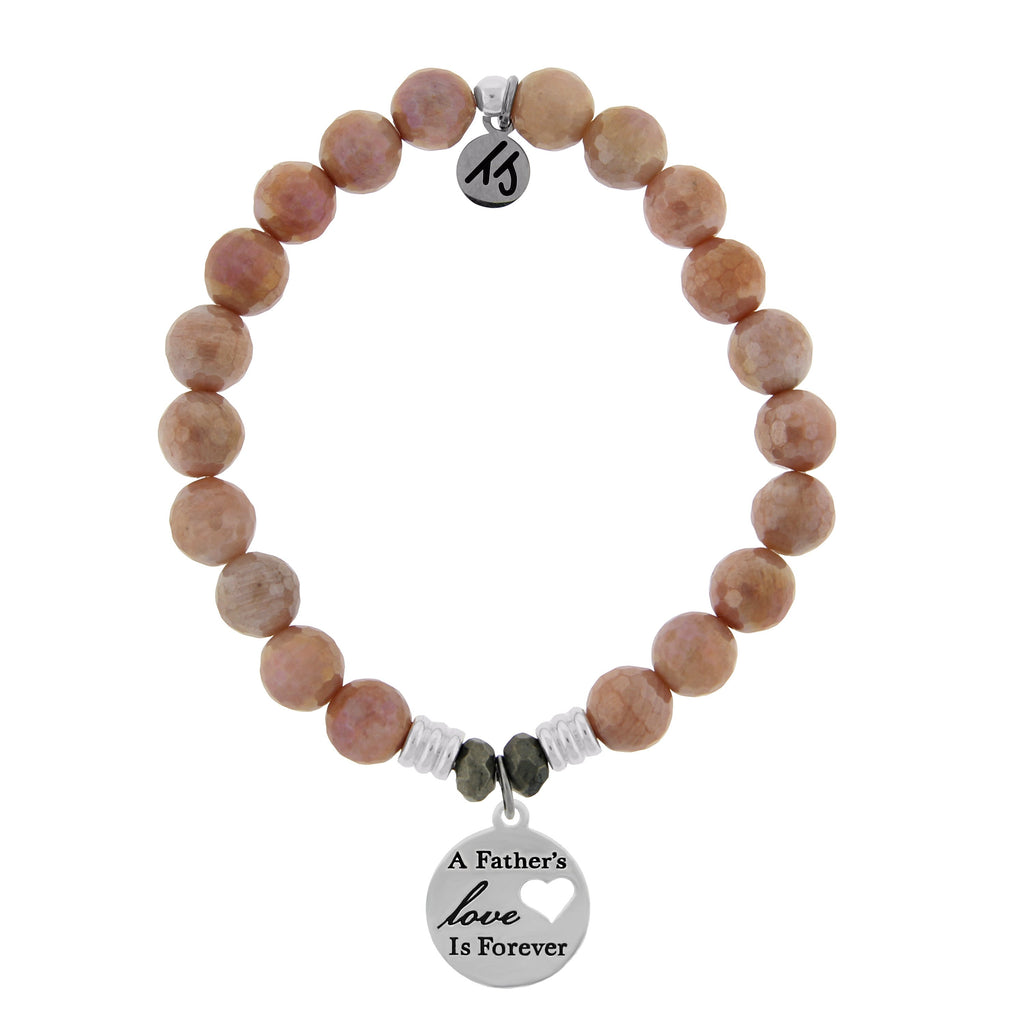 Orange Moonstone Stone Bracelet with Fathers Love Sterling Silver Charm