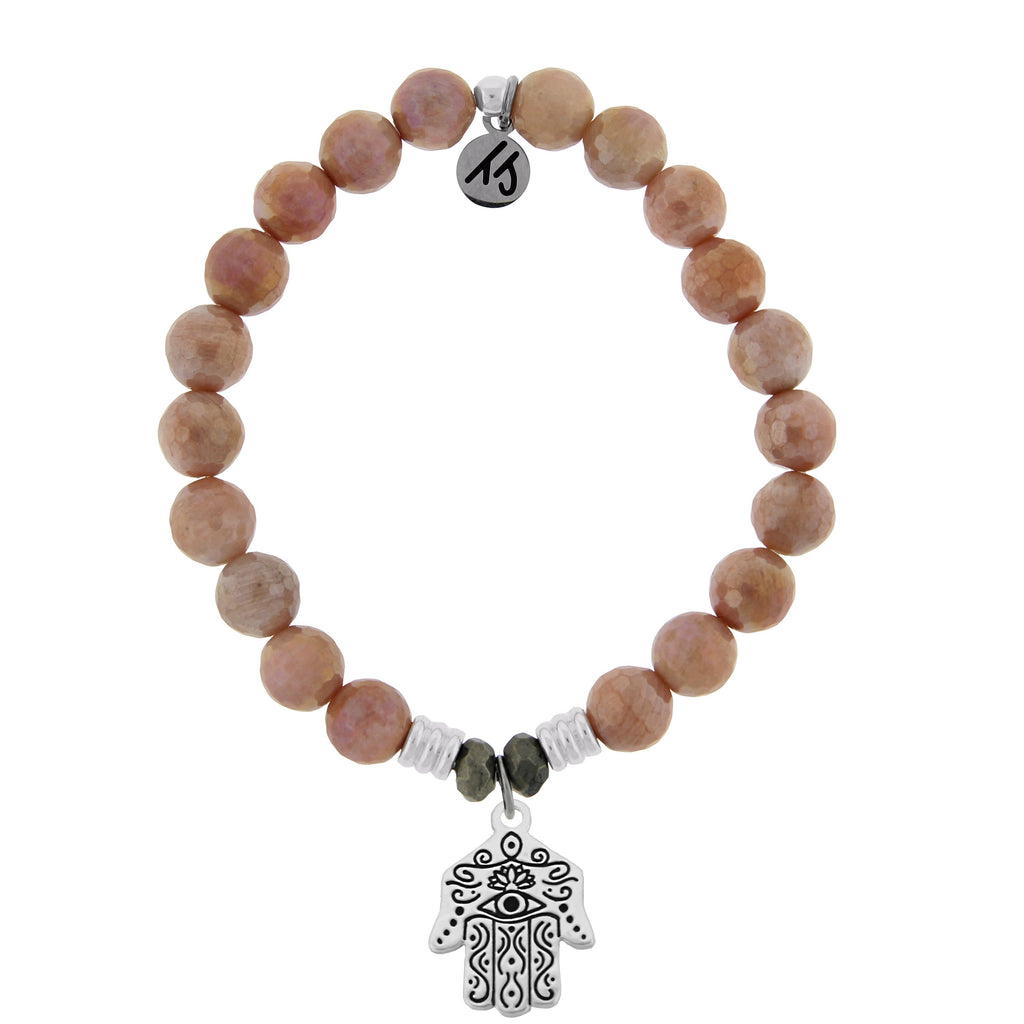 Orange Moonstone Stone Bracelet with Hand of God Sterling Silver Charm
