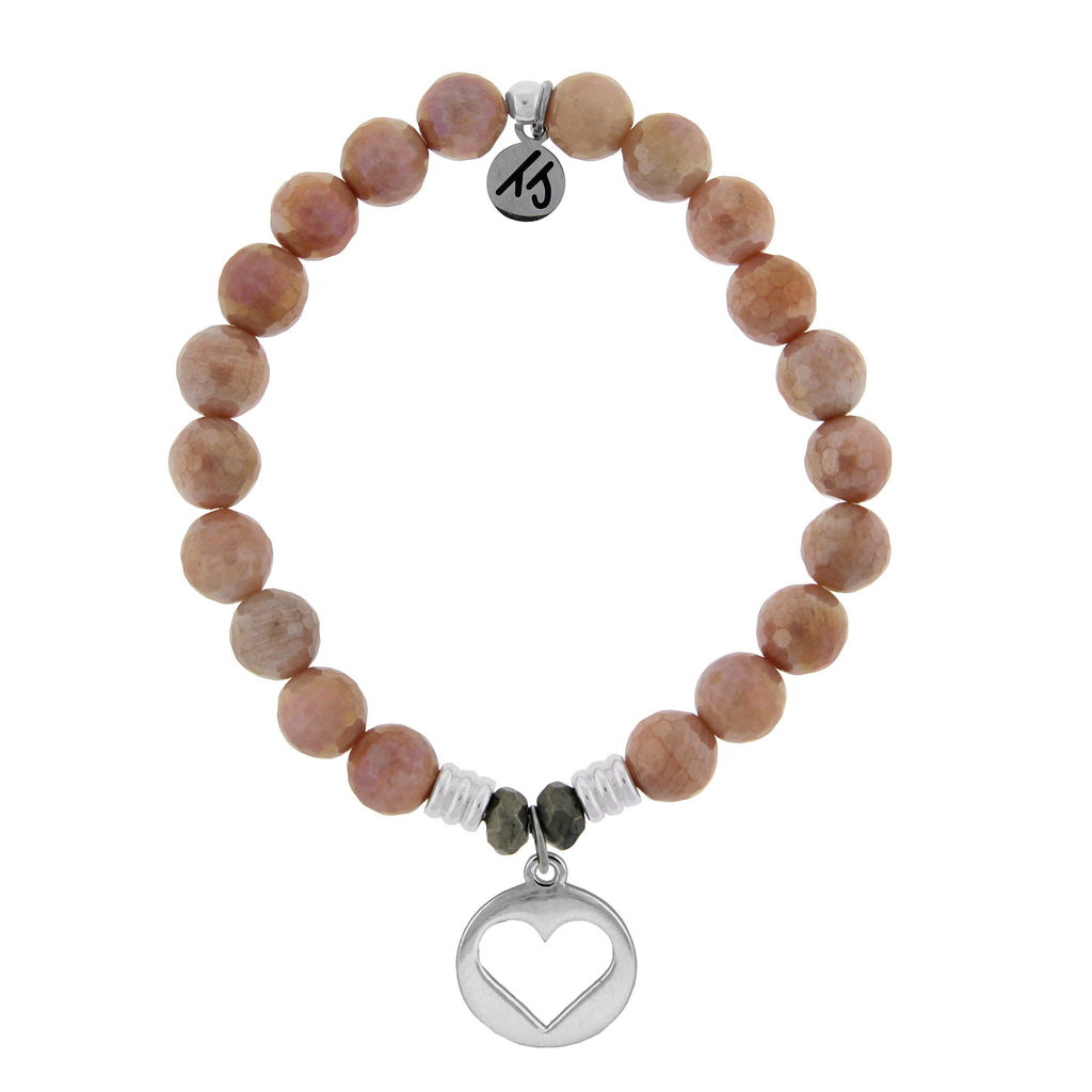 Orange Moonstone Stone Bracelet with Heart Sterling Silver Charm